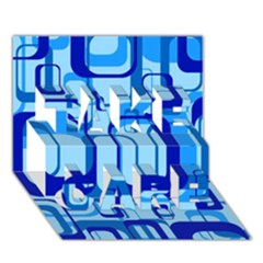 Retro Pattern 1971 Blue TAKE CARE 3D Greeting Card (7x5)