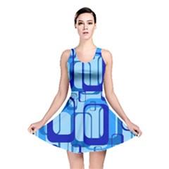 Retro Pattern 1971 Blue Reversible Skater Dresses