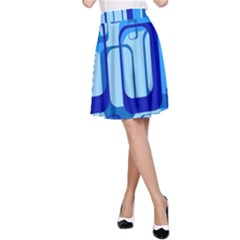 Retro Pattern 1971 Blue A Line Skirts