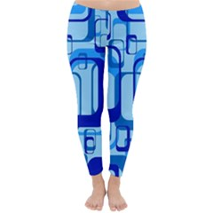 Retro Pattern 1971 Blue Winter Leggings