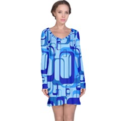 Retro Pattern 1971 Blue Long Sleeve Nightdresses