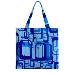Retro Pattern 1971 Blue Zipper Grocery Tote Bags