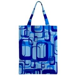 Retro Pattern 1971 Blue Zipper Classic Tote Bags