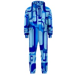 Retro Pattern 1971 Blue Hooded Jumpsuit (Men)