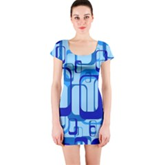 Retro Pattern 1971 Blue Short Sleeve Bodycon Dresses