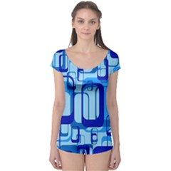 Retro Pattern 1971 Blue Short Sleeve Leotard