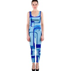 Retro Pattern 1971 Blue Onepiece Catsuits