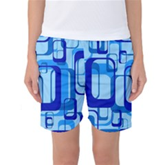 Retro Pattern 1971 Blue Women s Basketball Shorts