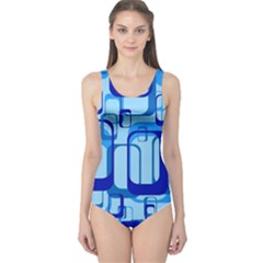 Retro Pattern 1971 Blue Women s One Piece Swimsuits