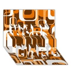 Retro Pattern 1971 Orange WORK HARD 3D Greeting Card (7x5)