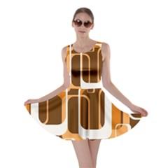 Retro Pattern 1971 Orange Skater Dresses