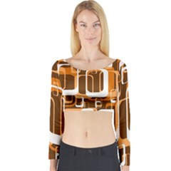 Retro Pattern 1971 Orange Long Sleeve Crop Top