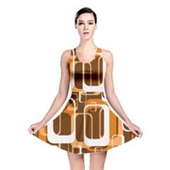 Retro Pattern 1971 Orange Reversible Skater Dresses