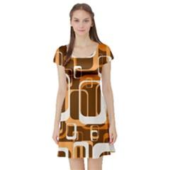 Retro Pattern 1971 Orange Short Sleeve Skater Dresses