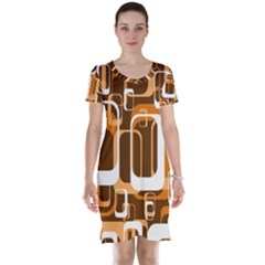 Retro Pattern 1971 Orange Short Sleeve Nightdresses