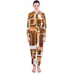Retro Pattern 1971 Orange Hooded Jumpsuit (Ladies)