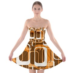 Retro Pattern 1971 Orange Strapless Bra Top Dress