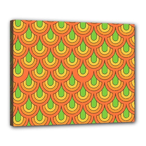 70s Green Orange Pattern Canvas 20  X 16