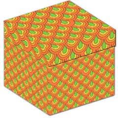 70s Green Orange Pattern Storage Stool 12