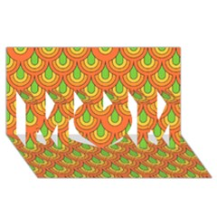 70s Green Orange Pattern Mom 3d Greeting Card (8x4)