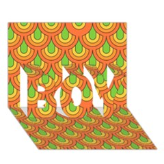70s Green Orange Pattern BOY 3D Greeting Card (7x5)