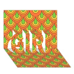 70s Green Orange Pattern GIRL 3D Greeting Card (7x5)