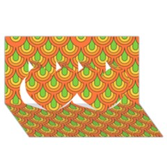70s Green Orange Pattern Twin Hearts 3d Greeting Card (8x4)