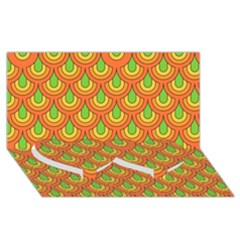 70s Green Orange Pattern Twin Heart Bottom 3D Greeting Card (8x4)