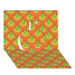 70s Green Orange Pattern Apple 3d Greeting Card (7x5)