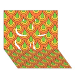 70s Green Orange Pattern Clover 3D Greeting Card (7x5)