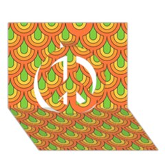 70s Green Orange Pattern Peace Sign 3D Greeting Card (7x5)