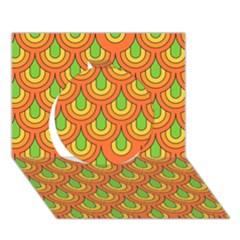 70s Green Orange Pattern Circle 3D Greeting Card (7x5)