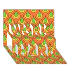 70s Green Orange Pattern Work Hard 3d Greeting Card (7x5)