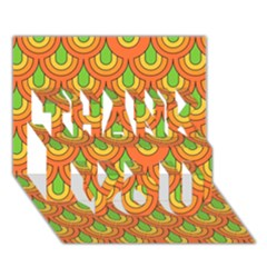 70s Green Orange Pattern Thank You 3d Greeting Card (7x5)