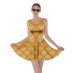 70s Green Orange Pattern Skater Dresses