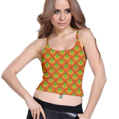 70s Green Orange Pattern Spaghetti Strap Bra Tops
