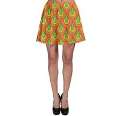 70s Green Orange Pattern Skater Skirts