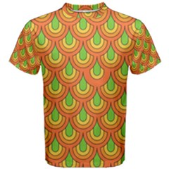 70s Green Orange Pattern Men s Cotton Tees