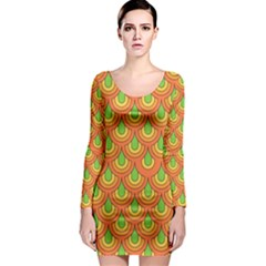 70s Green Orange Pattern Long Sleeve Bodycon Dresses