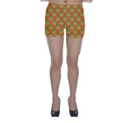 70s Green Orange Pattern Skinny Shorts