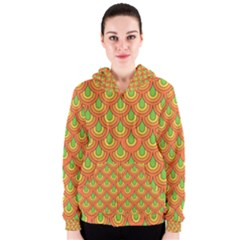 70s Green Orange Pattern Women s Zipper Hoodies