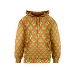 70s Green Orange Pattern Kids Zipper Hoodies