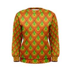 70s Green Orange Pattern Women s Sweatshirts