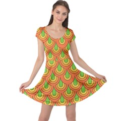70s Green Orange Pattern Cap Sleeve Dresses