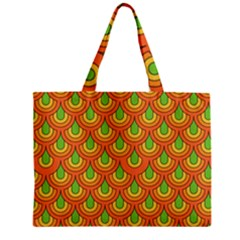 70s Green Orange Pattern Zipper Tiny Tote Bags