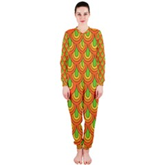 70s Green Orange Pattern OnePiece Jumpsuit (Ladies)