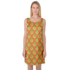 70s Green Orange Pattern Sleeveless Satin Nightdresses