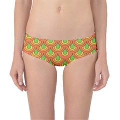 70s Green Orange Pattern Classic Bikini Bottoms