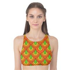 70s Green Orange Pattern Tank Bikini Top