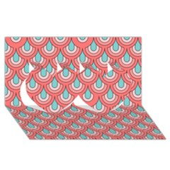 70s Peach Aqua Pattern Twin Hearts 3d Greeting Card (8x4)